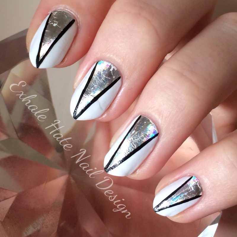 "Foil ""V"" nail art by Courtney Haines"