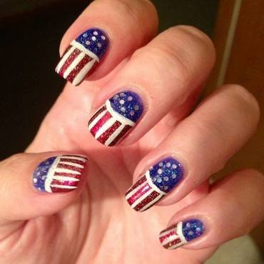 4th of July Parade nail art by Denise Reis