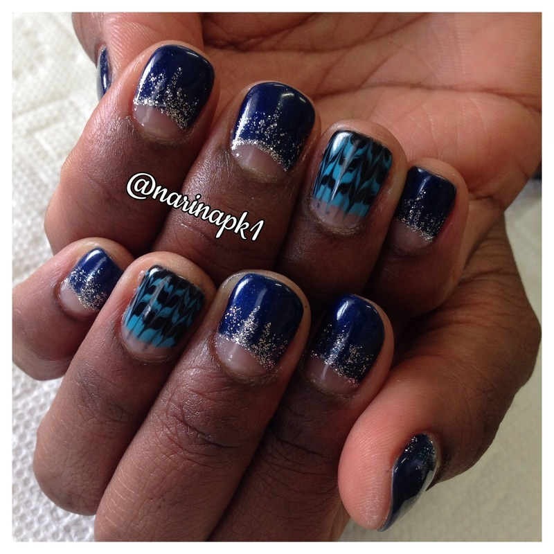 Navy Blue Marble nail art by Narina Chan - Nailpolis: Museum of Nail Art
