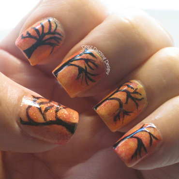 Autumn Trees nail art by Denise