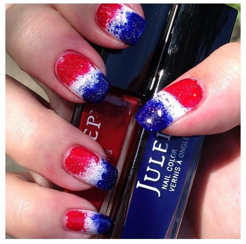 Patriotic Pepsi nail art by Denise Reis