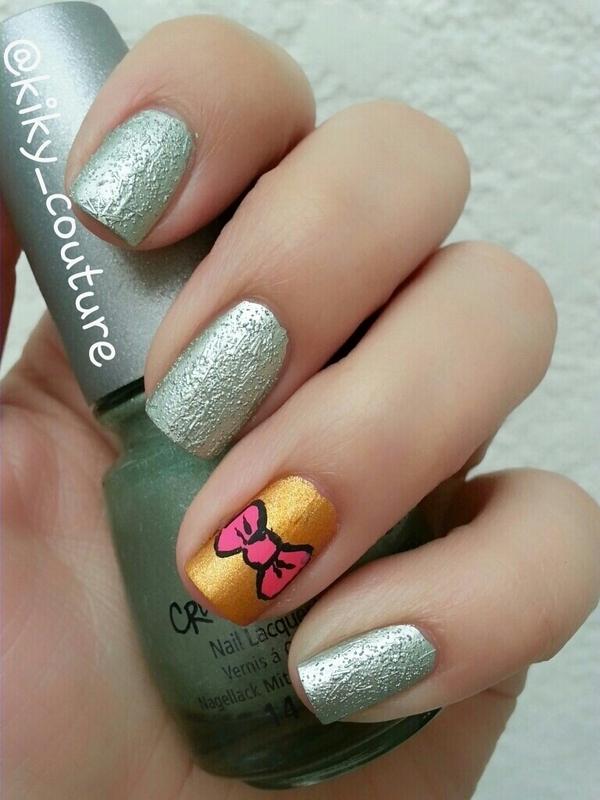 Romantic Bow nail art by Ximena Echenique