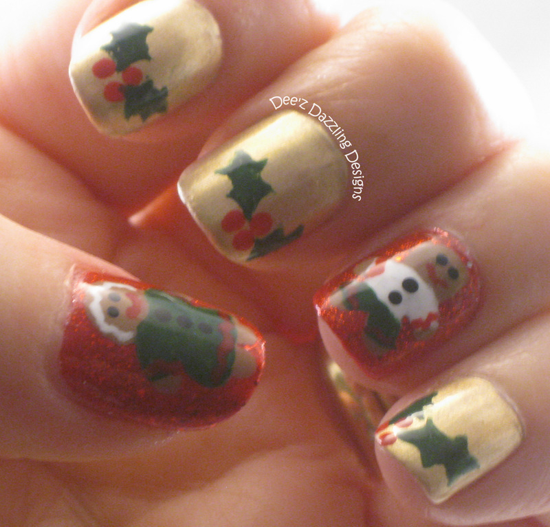 Gingerbread & Holly nail art by Denise