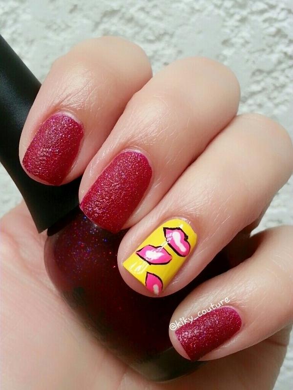 Kisses nail art by Ximena Echenique