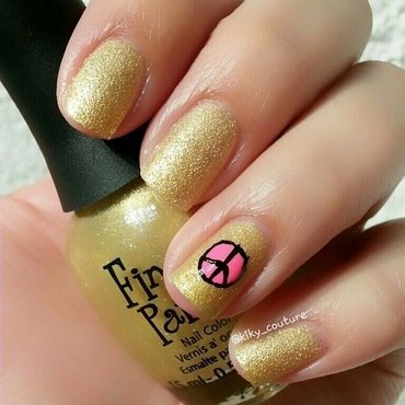 Peace & Love nail art by Ximena Echenique