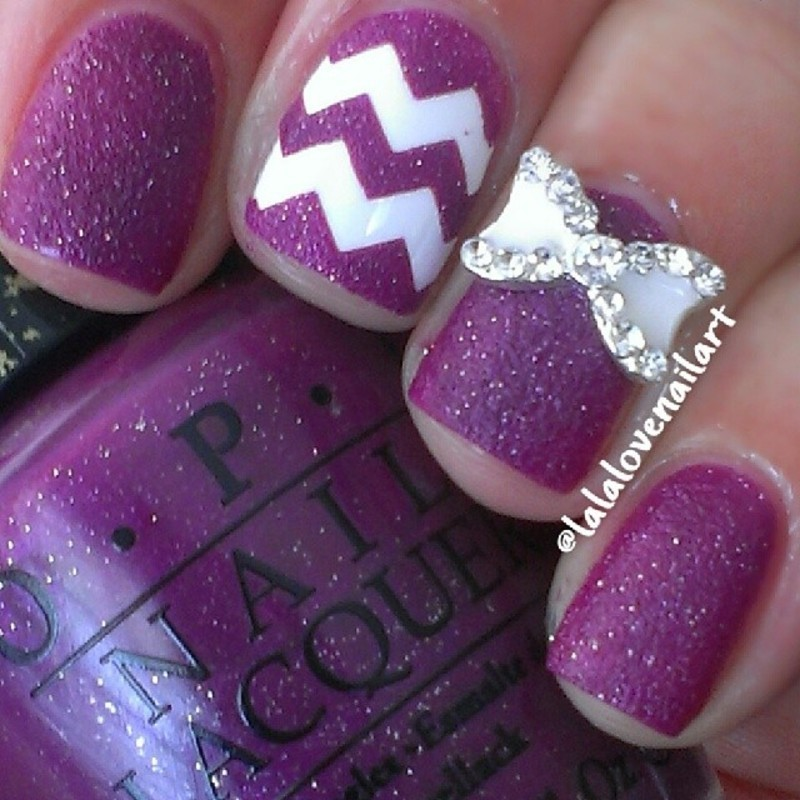 Purple sparkle nail art by Jessica Byles