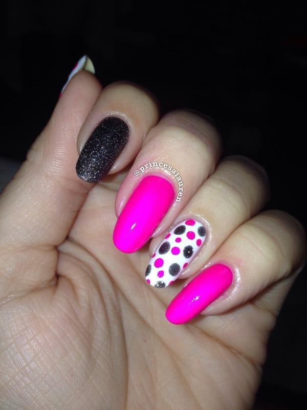 Pink Polka Dots nail art by Lauren Rodas