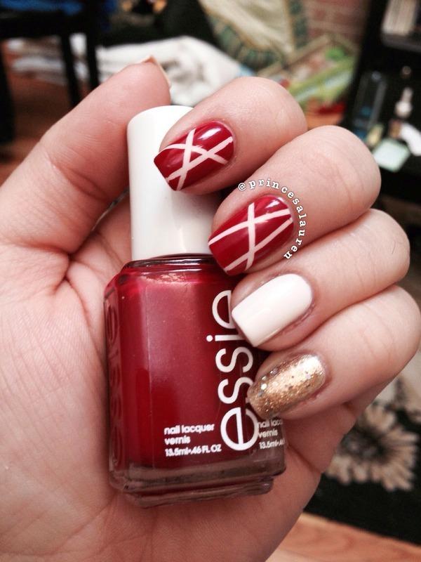Striping Red & Gold nail art by Lauren Rodas