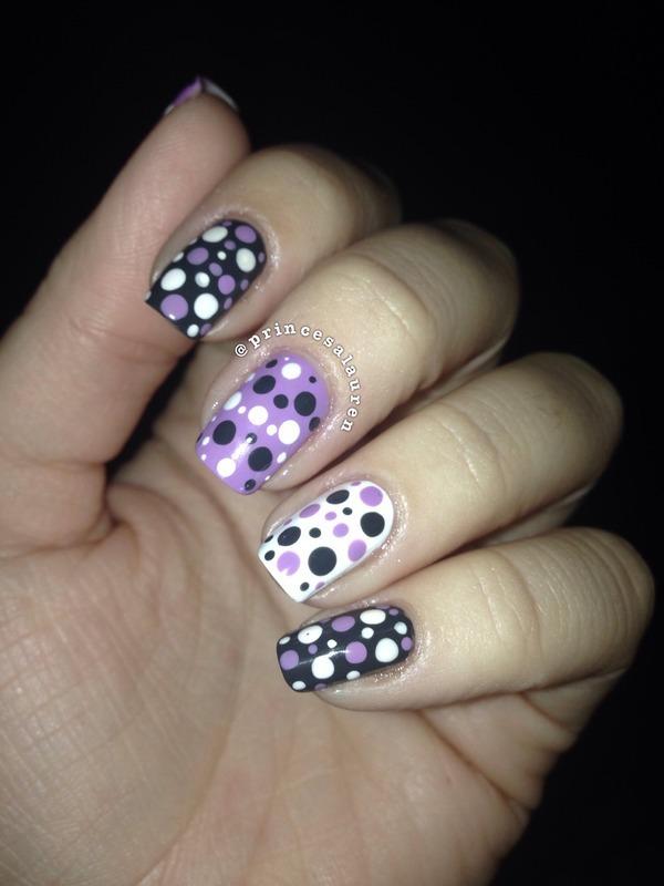 Purple Dots nail art by Lauren Rodas