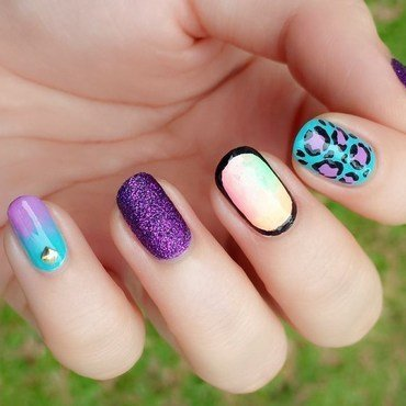 Skittle pastel leopard nail art nail art by Jolene Tay