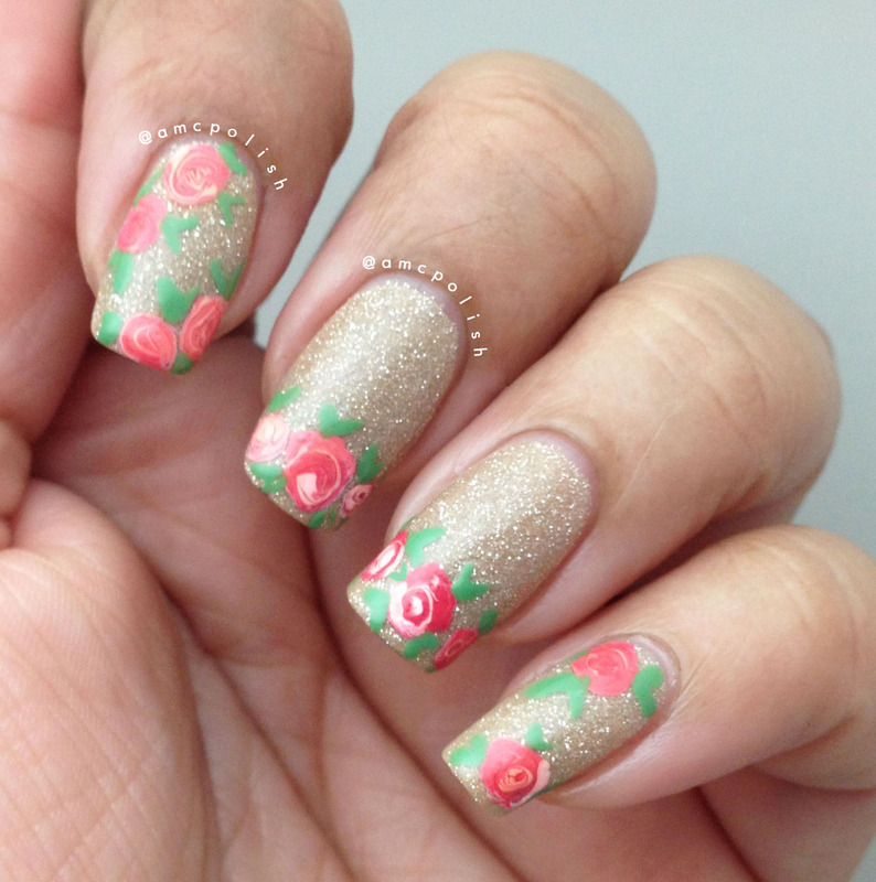 Roses nail art by Amber Connor