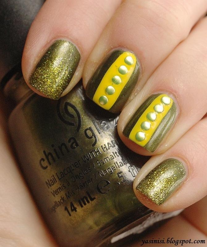 yellow&green nail art by Yasinisi
