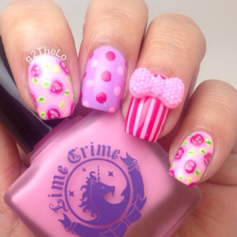 Mix and match pink  nail art by Gloria  Loeza
