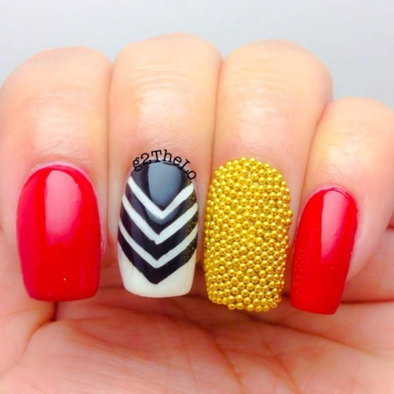 Chevron and beads nail art by Gloria  Loeza
