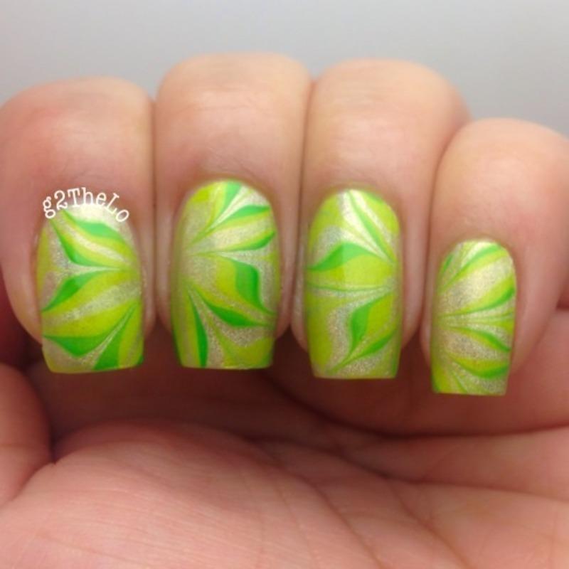 Green holo water marble  nail art by Gloria  Loeza