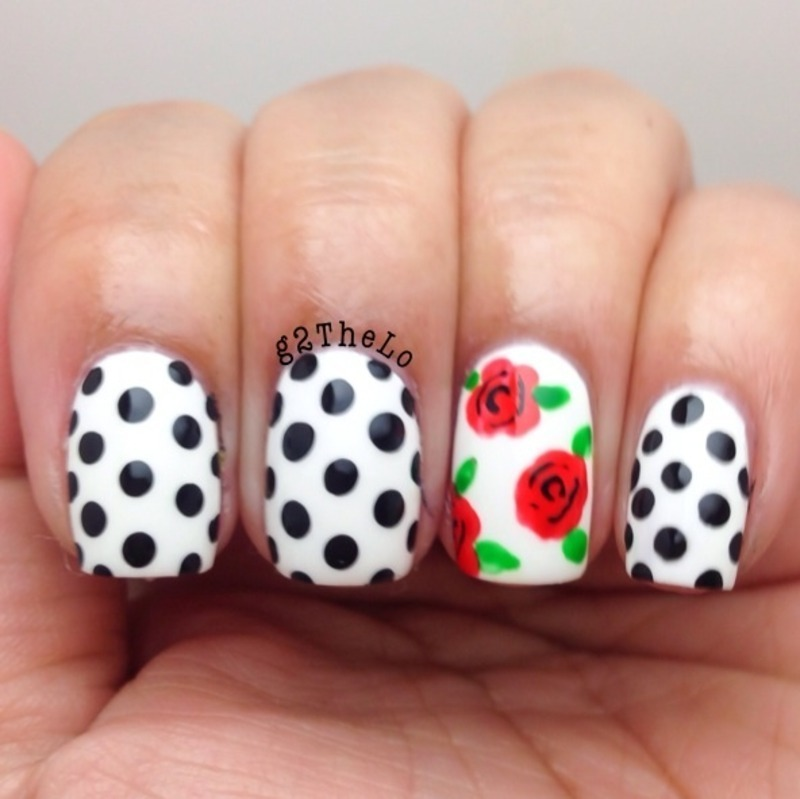 Flowers and dots  nail art by Gloria  Loeza