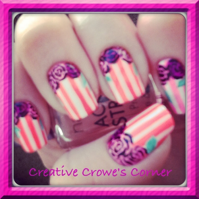 Vintage with Roses nail art by Monica