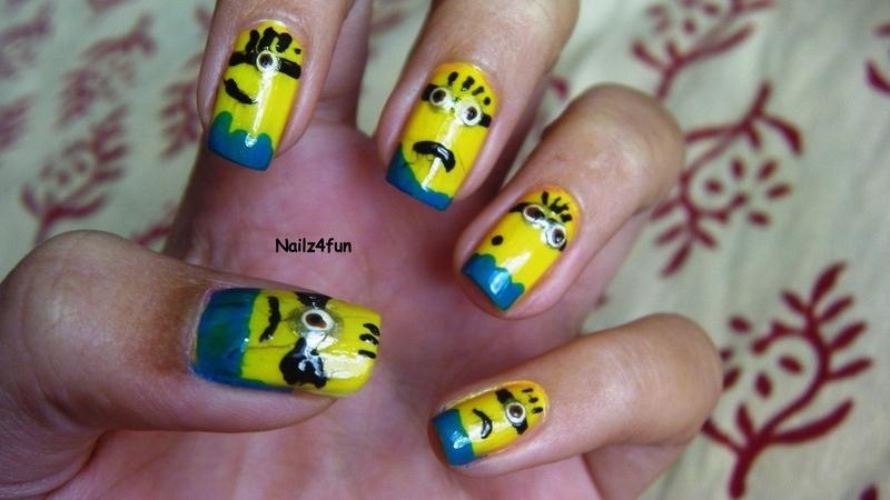 Minion Nails! nail art by Nailz4fun