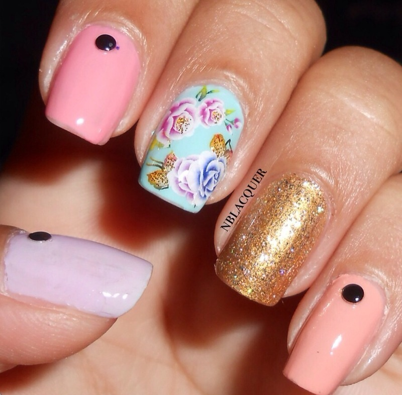 Spring Pastels & Rose Nails nail art by Monica S.