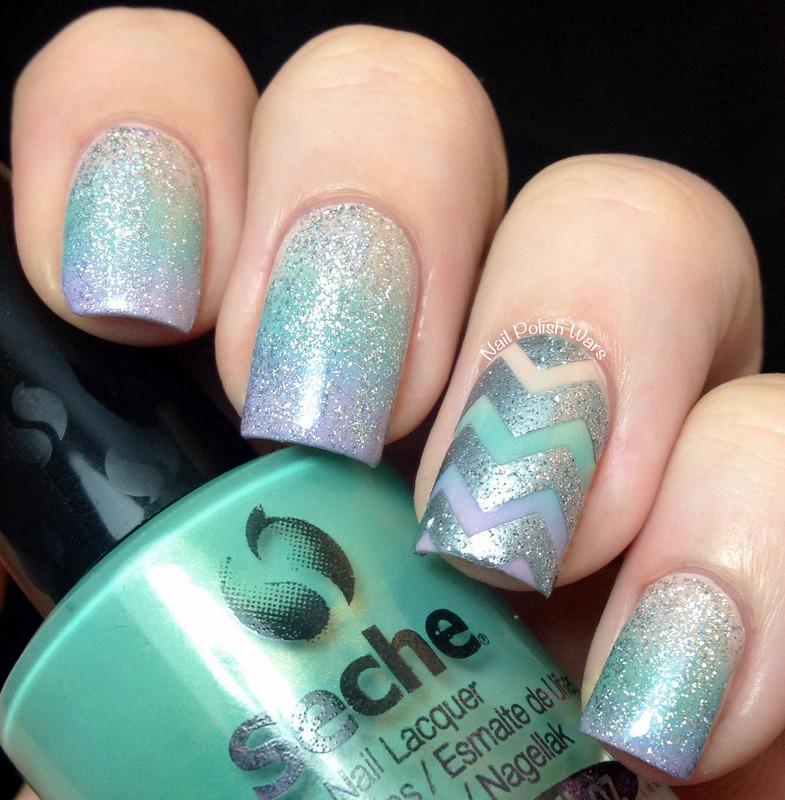 Edgy Gradient nail art by Nail Polish Wars