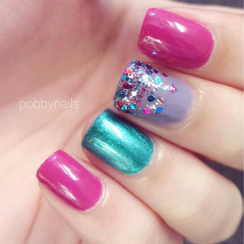 Mardi Gras! nail art by Priscilla  Lim