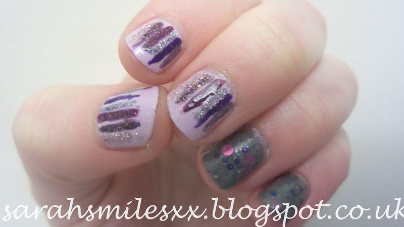 Purple Waterfall nail art by Sarah Clarke
