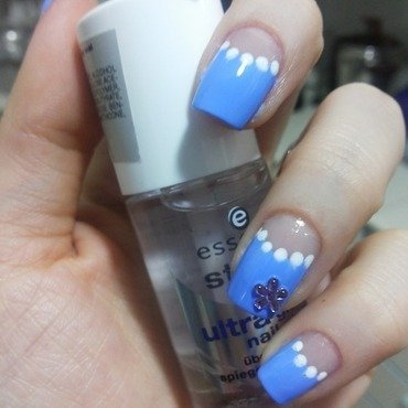 Baby Blue Half Moon nail art by Sara