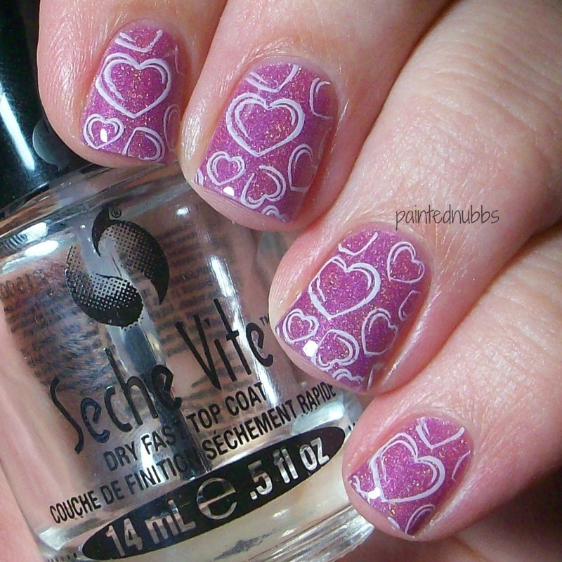 Radiant Orchid Hearts nail art by Ashlee
