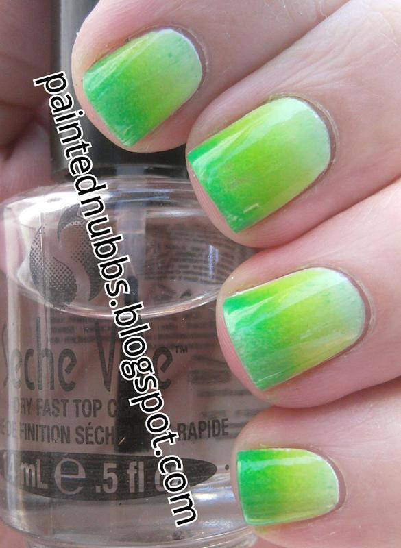 Green Gradient nail art by Ashlee