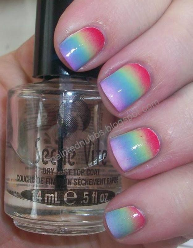 Rainbow Gradient nail art by Ashlee
