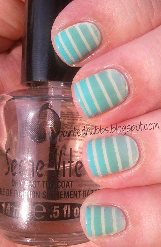 Mint Striped Gradient nail art by Ashlee