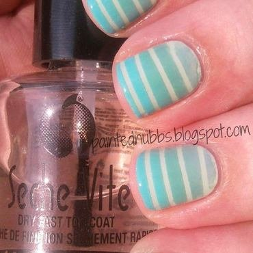 Mint Striped Gradient nail art by Ashlee