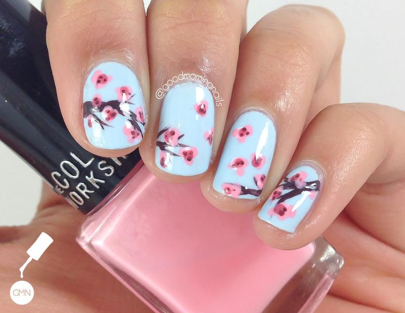 Cherry Blossoms nail art by Sabah