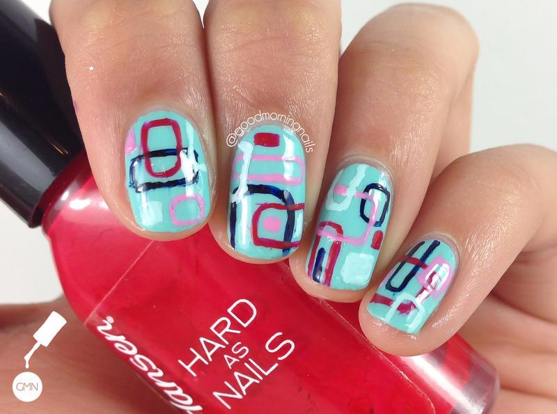 Geometric Brights nail art by Sabah