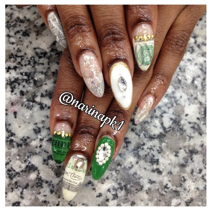 Money Nails nail art by Narina Chan
