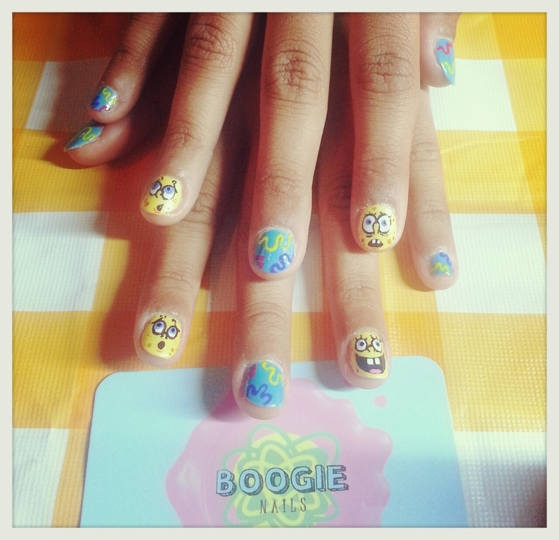 Sponge Bob nail art by BoogieNails