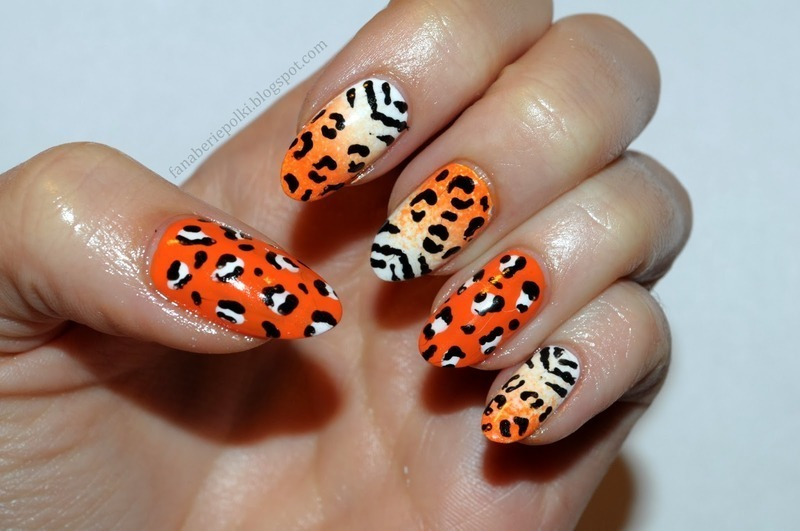 Animal print nails - zebra & leopard nail art by Carolina