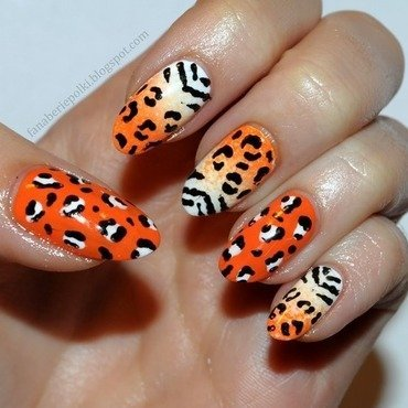 Animal print nails - zebra & leopard nail art by Carolina