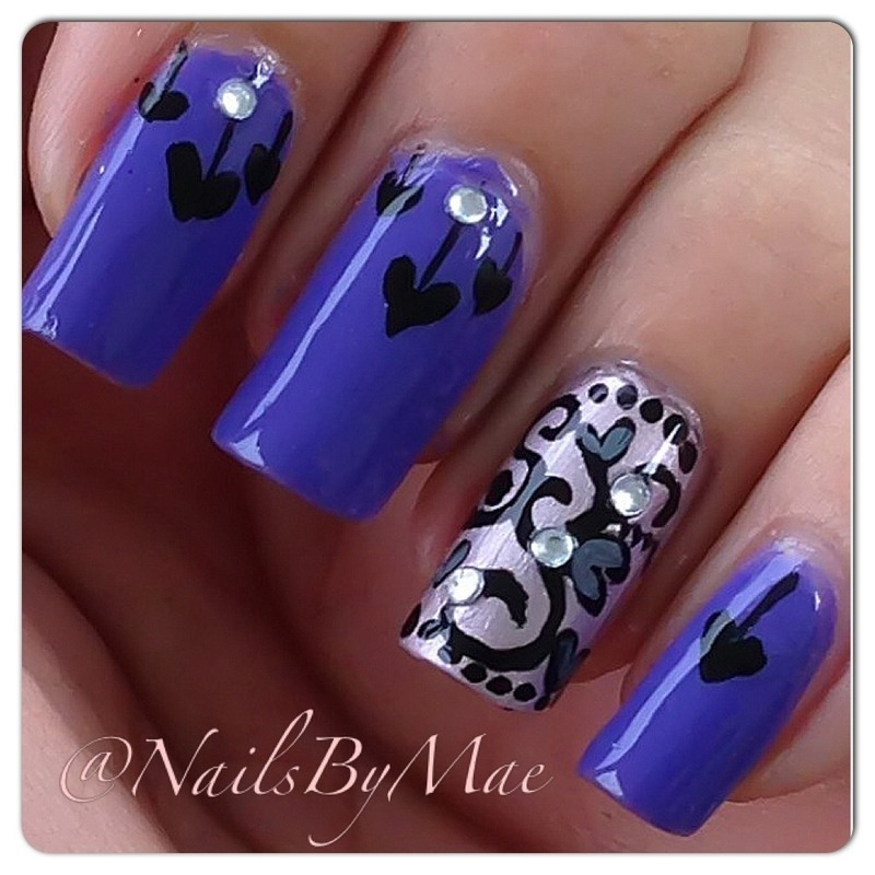 Black & Purple Hearts nail art by Sheily (NailsByMae)