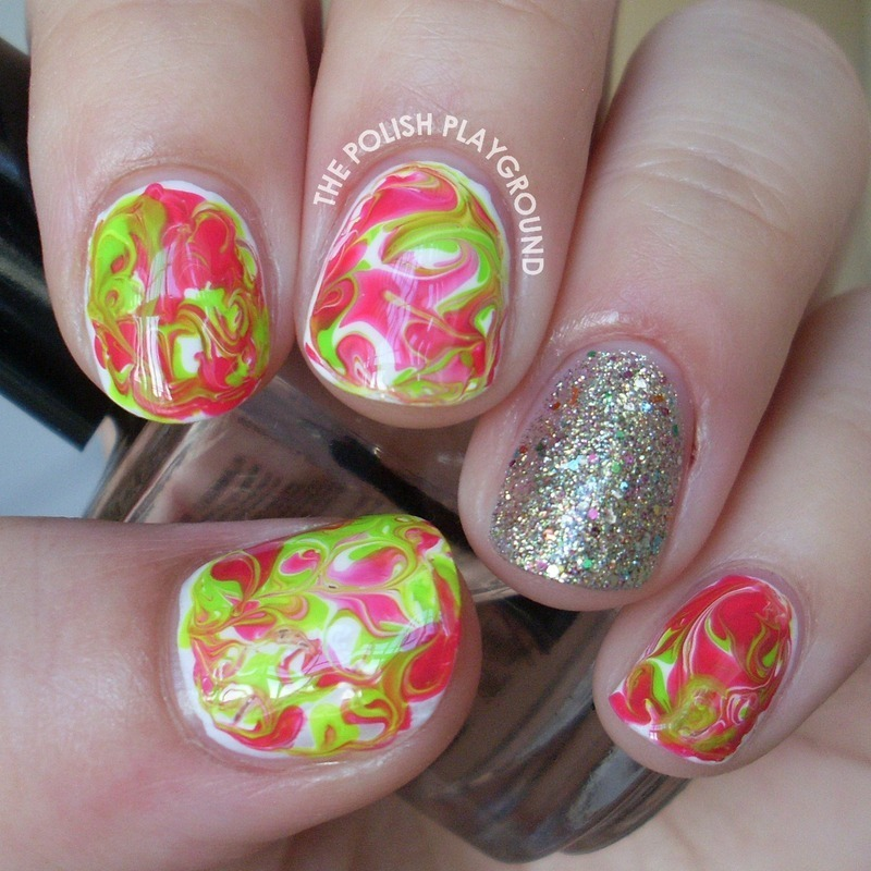 Bright Green and Red Dry Water Marble nail art by Lisa N