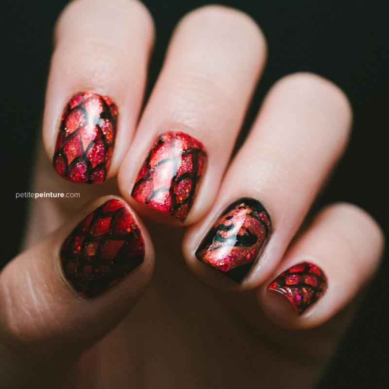 Game of Thrones | House Targaryen nail art by Petite Peinture