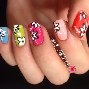 Colour blossom nail art by Louise