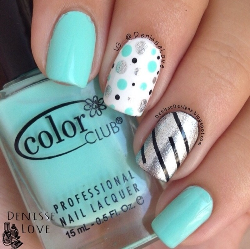 Stripes & Dots nail art by Denisse Love