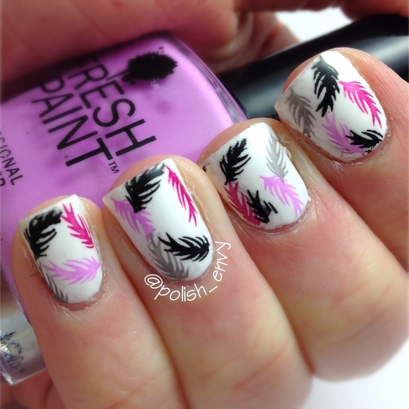 Feather Stamping nail art by Nicole
