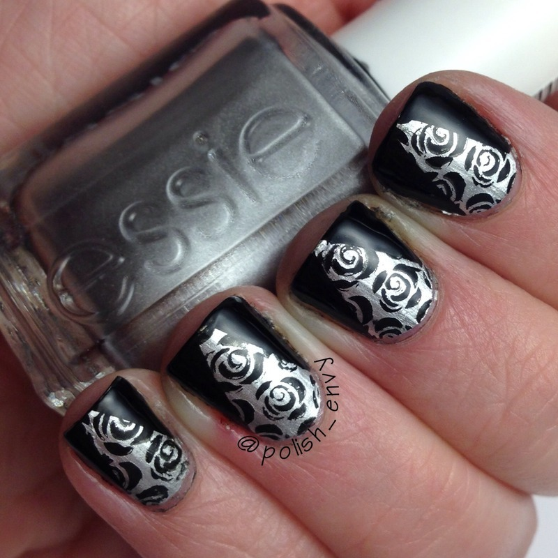 Rose Stamping w/ Deep V's nail art by Nicole