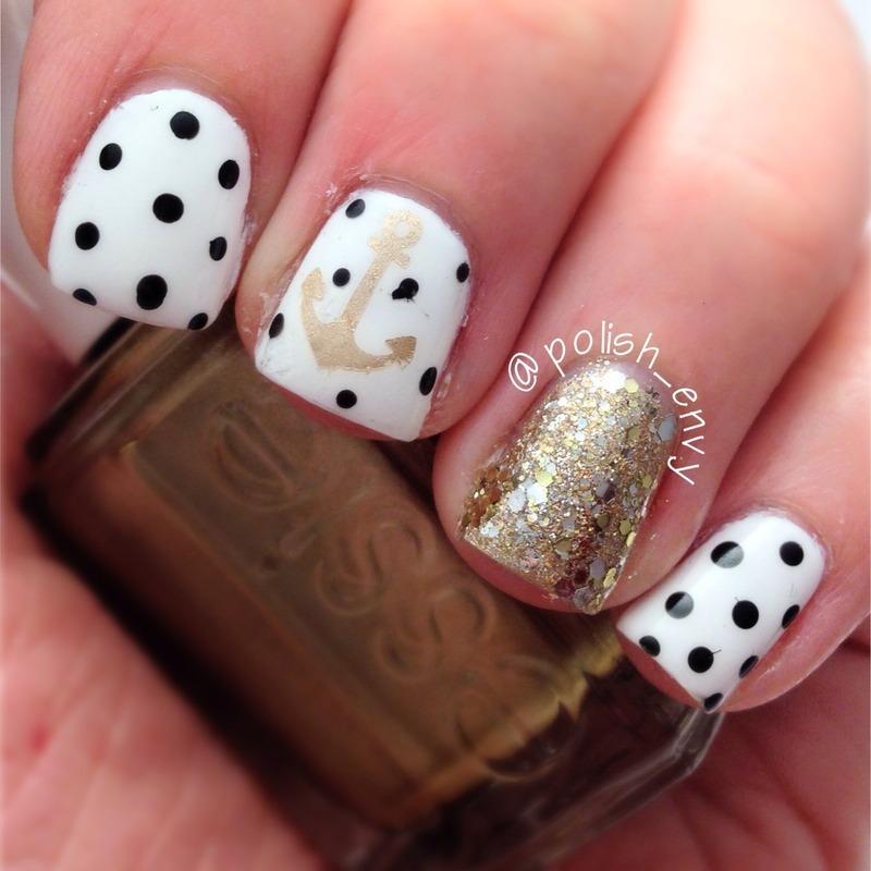 Anchor & Polka Dots nail art by Nicole