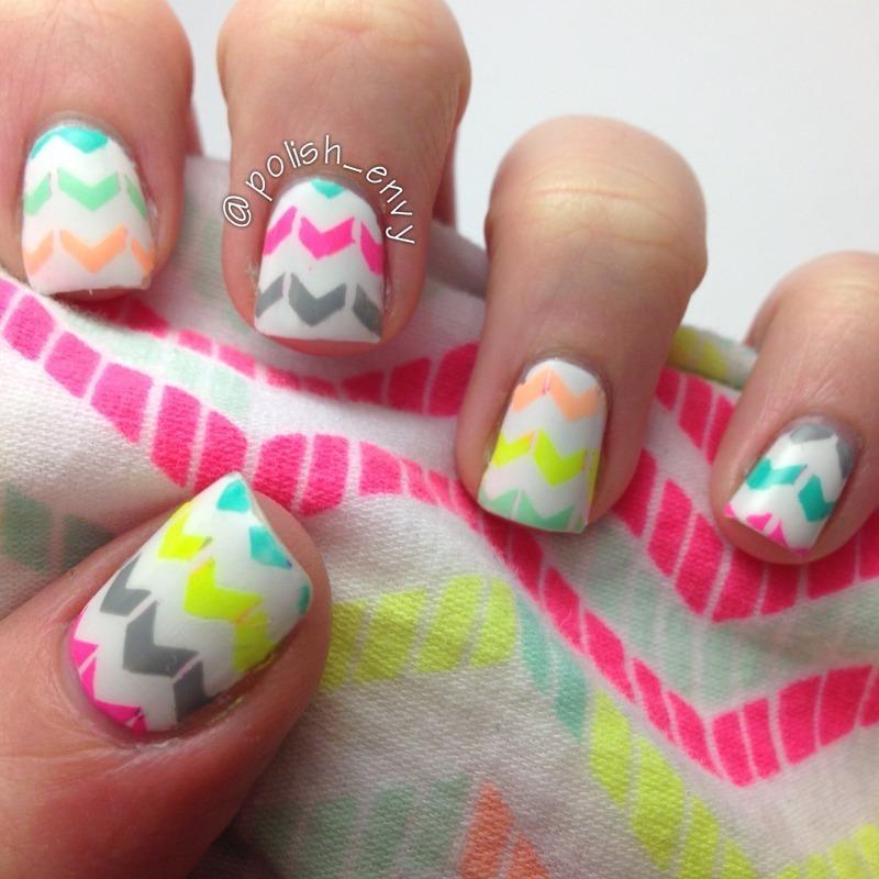 Neon Chevron nail art by Nicole