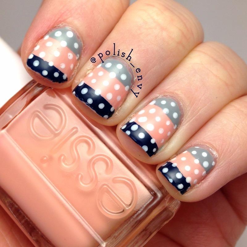 Color Block Polka Dots nail art by Nicole
