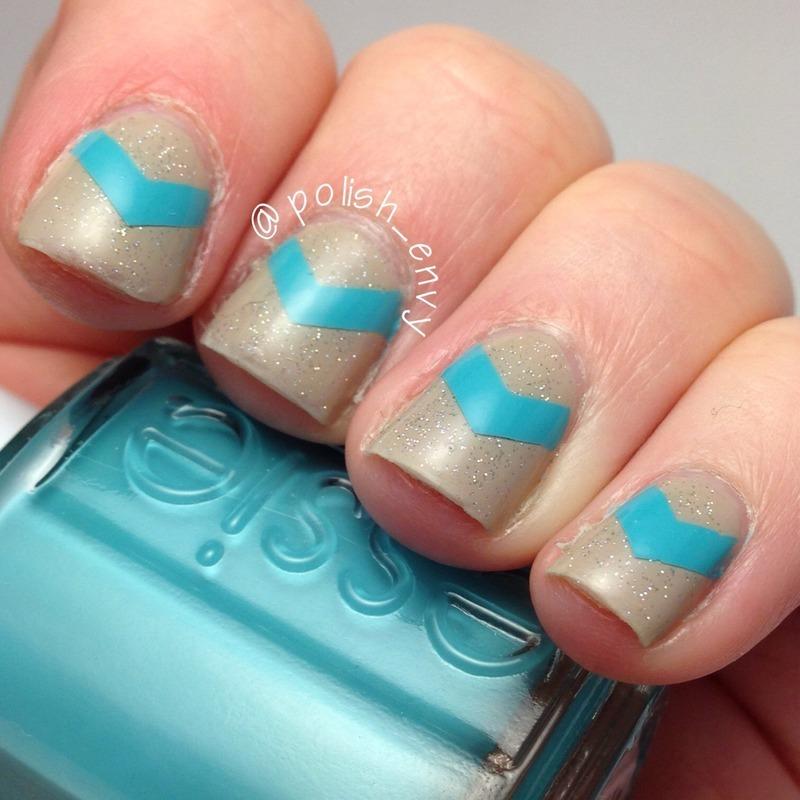 Single Chevron nail art by Nicole
