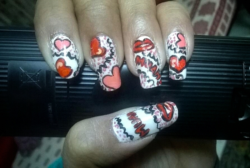 valentine theme Pop art nails nail art by vajeeha